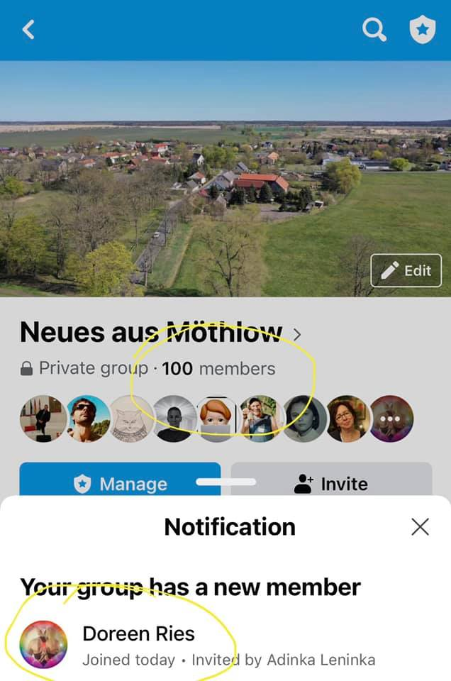 """You are currently viewing 100. Mitglied der Facebookgruppe """"Neues aus Möthlow"""""""
