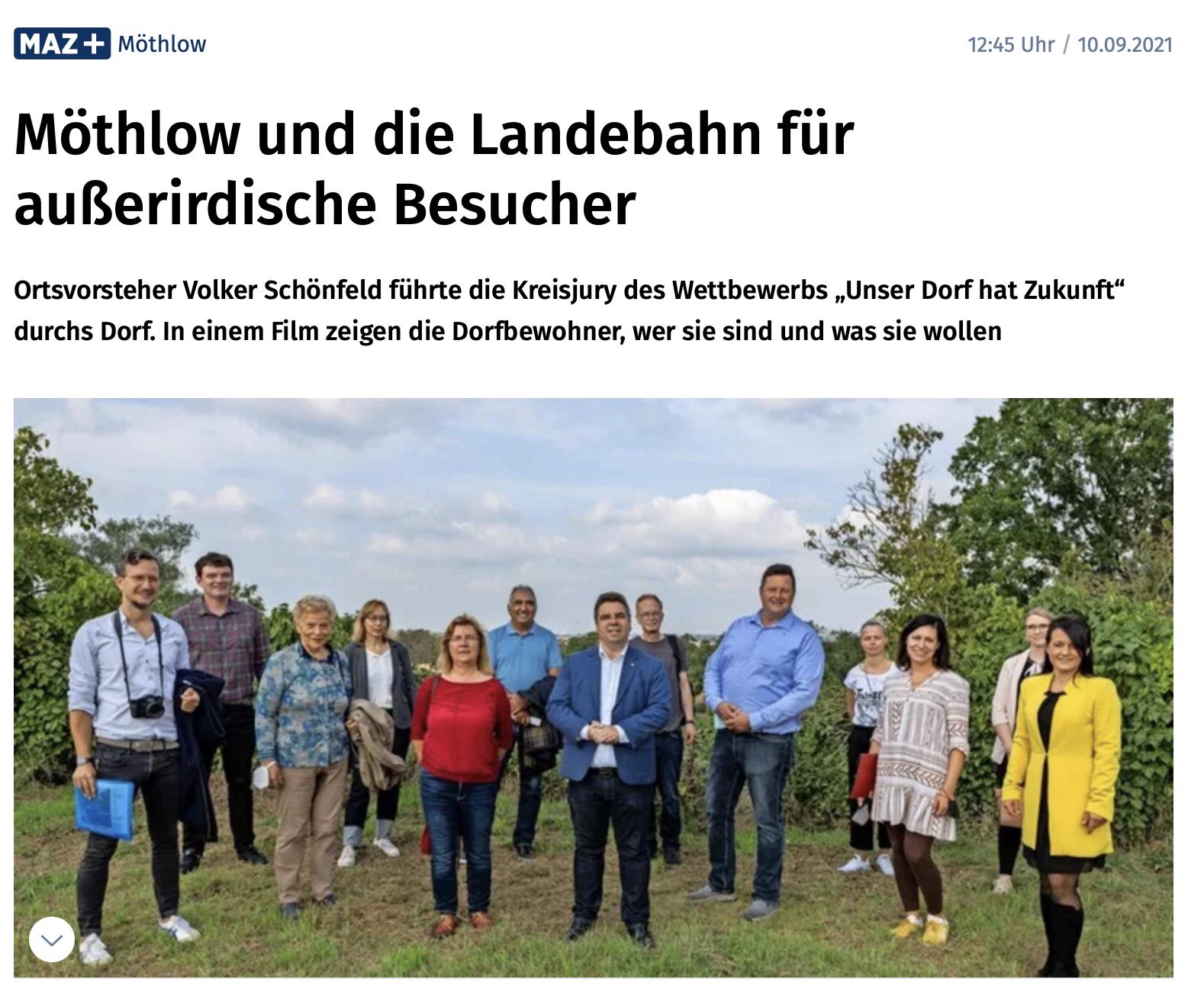 """You are currently viewing Möthlow und der Wettbewerb """"Unser Dorf hat Zukunft"""" in maz-online.de"""